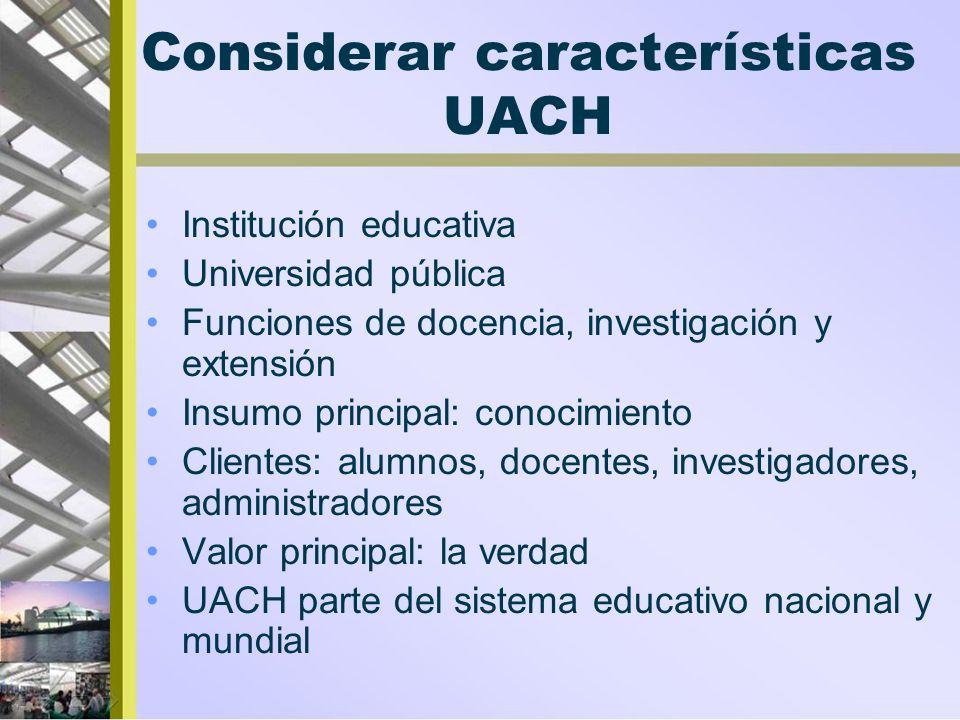 Considerar características UACH Institución educativa Universidad pública Funciones de docencia, investigación y extensión Insumo principal: conocimie