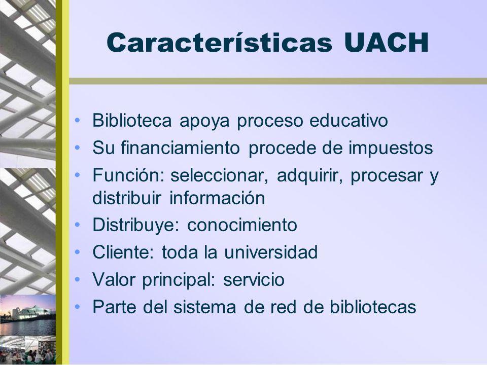 Características UACH Biblioteca apoya proceso educativo Su financiamiento procede de impuestos Función: seleccionar, adquirir, procesar y distribuir i