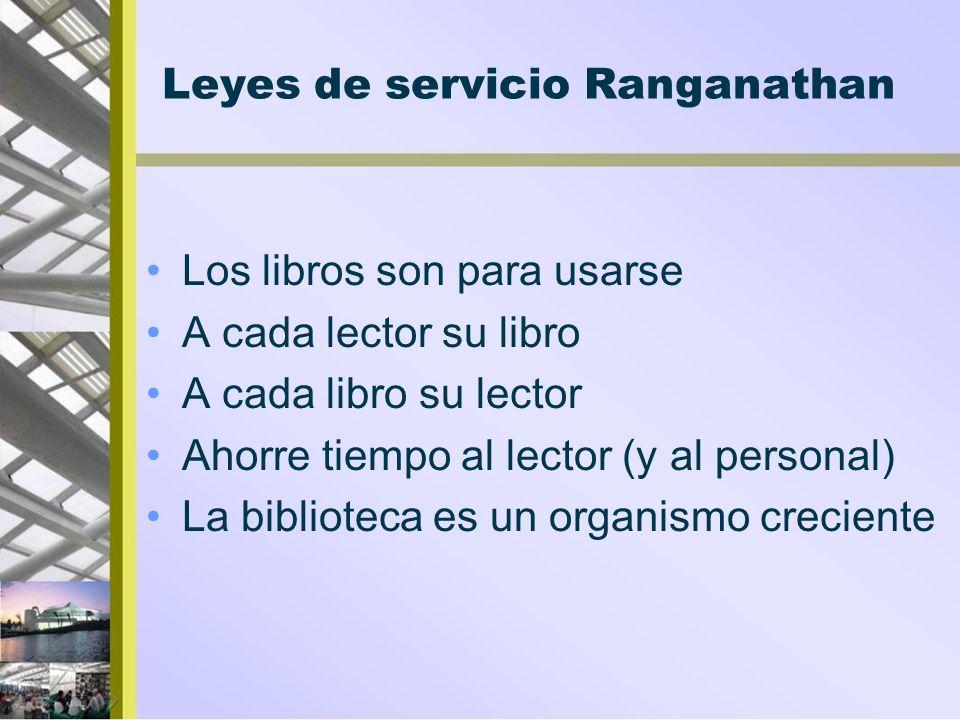 Leyes de servicio Ranganathan Los libros son para usarse A cada lector su libro A cada libro su lector Ahorre tiempo al lector (y al personal) La bibl