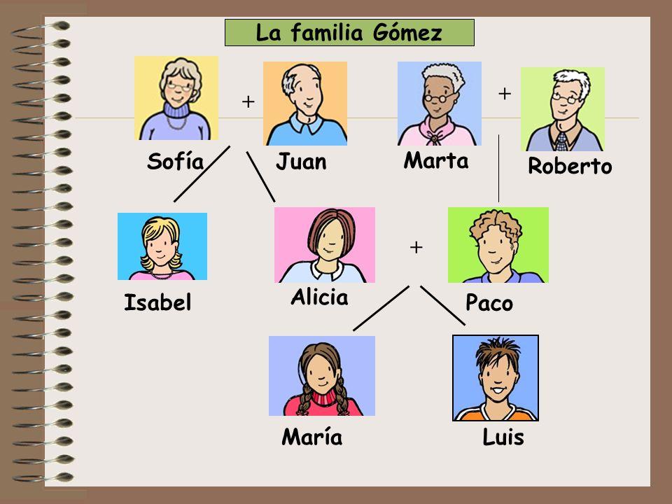 + + Paco MaríaLuis Alicia Isabel Sofía + Juan Roberto Marta La familia Gómez