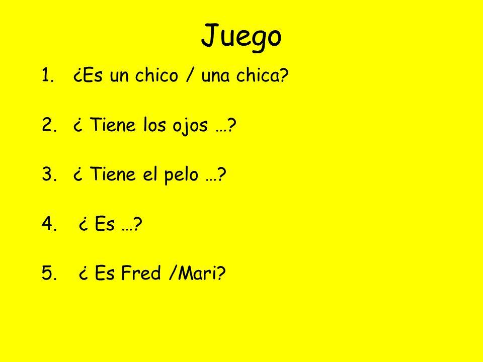 Juego 1.¿Es un chico / una chica? 2.¿ Tiene los ojos …? 3.¿ Tiene el pelo …? 4. ¿ Es …? 5. ¿ Es Fred /Mari?