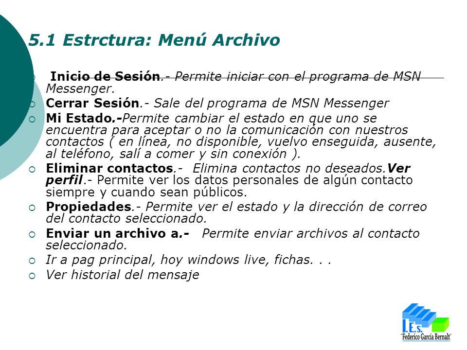 5.1 Estrctura: Menú Archivo Inicio de Sesión.- Permite iniciar con el programa de MSN Messenger.