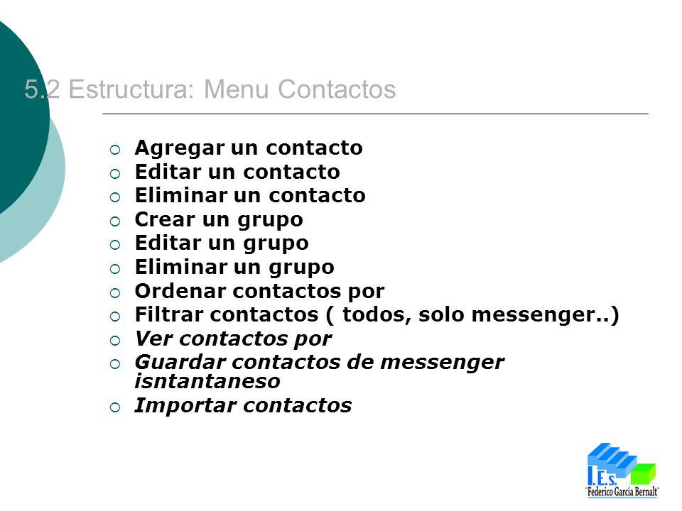 5.2 Estructura: Menu Contactos Agregar un contacto Editar un contacto Eliminar un contacto Crear un grupo Editar un grupo Eliminar un grupo Ordenar co