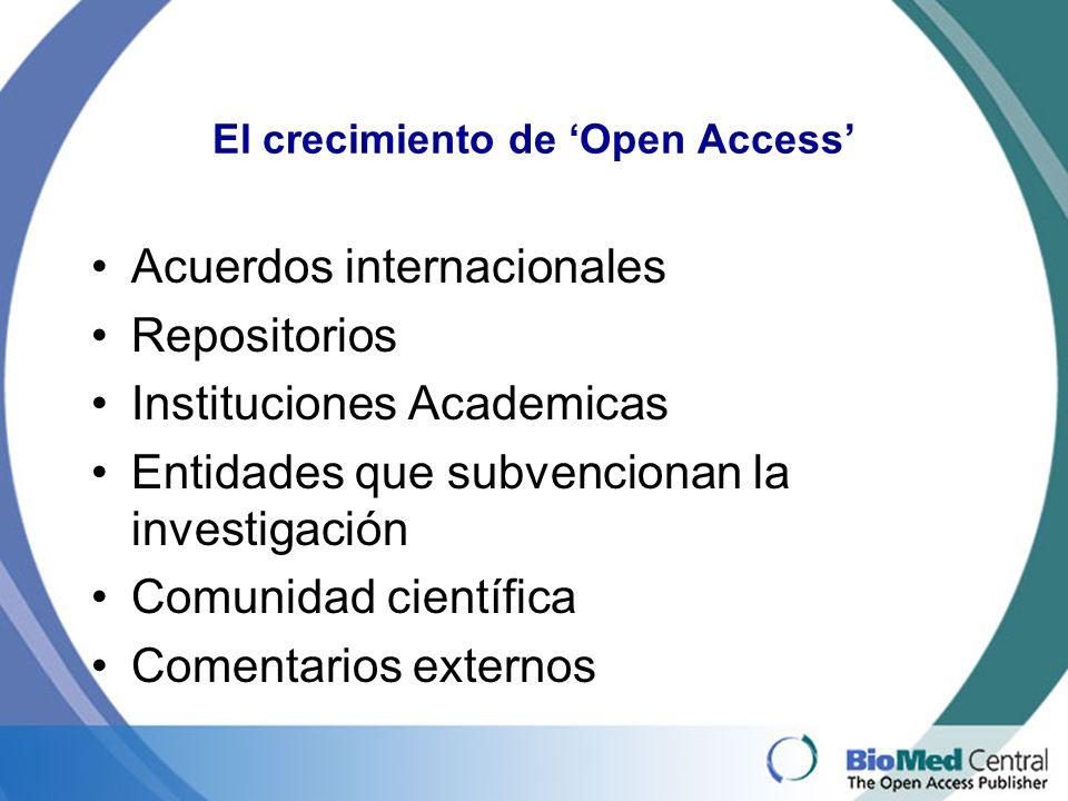 El crecimiento de Open Access Acuerdos internacionales Repositorios Instituciones Academicas Entidades que subvencionan la investigación Comunidad científica Comentarios externos