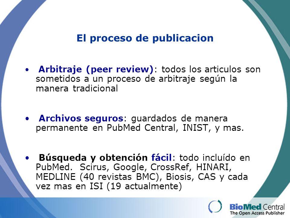 El proceso de publicacion Arbitraje (peer review): todos los articulos son sometidos a un proceso de arbitraje según la manera tradicional Archivos seguros: guardados de manera permanente en PubMed Central, INIST, y mas.