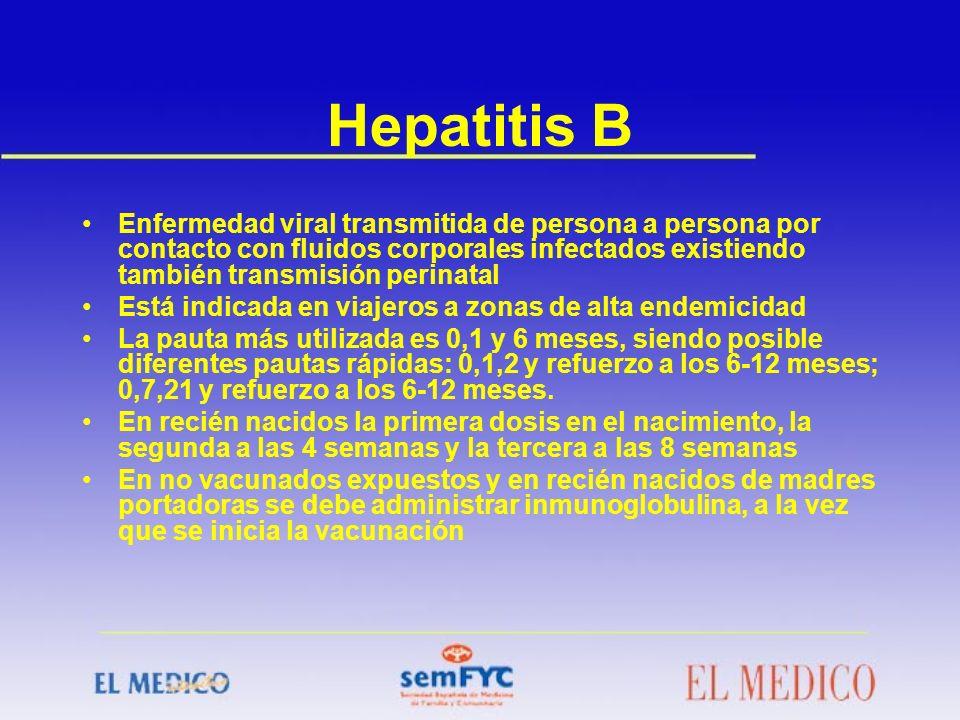 Hepatitis B Enfermedad viral transmitida de persona a persona por contacto con fluidos corporales infectados existiendo también transmisión perinatal
