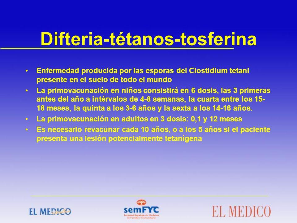 Difteria-tétanos-tosferina Enfermedad producida por las esporas del Clostidium tetani presente en el suelo de todo el mundo La primovacunación en niño