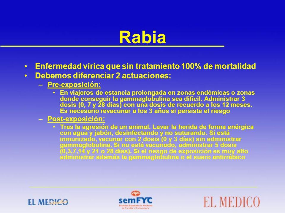 Rabia Enfermedad vírica que sin tratamiento 100% de mortalidad Debemos diferenciar 2 actuaciones: –Pre-exposición: En viajeros de estancia prolongada