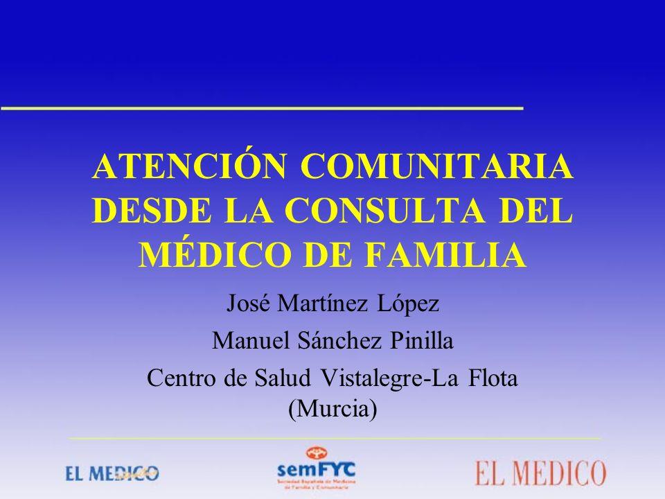 ATENCIÓN COMUNITARIA DESDE LA CONSULTA DEL MÉDICO DE FAMILIA José Martínez López Manuel Sánchez Pinilla Centro de Salud Vistalegre-La Flota (Murcia)