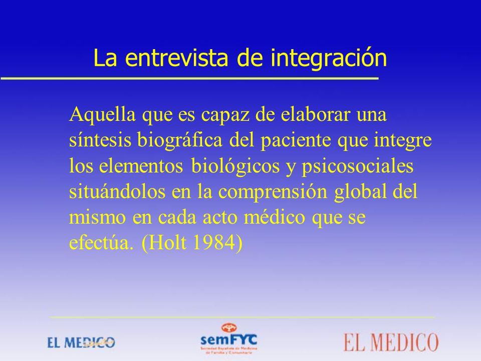 La entrevista de integración Aquella que es capaz de elaborar una síntesis biográfica del paciente que integre los elementos biológicos y psicosociale