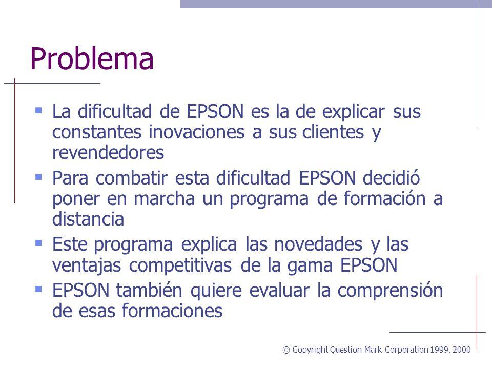© Copyright Question Mark Corporation 1999, 2000 Contexto EPSON es el líder mundial en la construcción de impresoras EPSON diseñó un CD inter-activo p