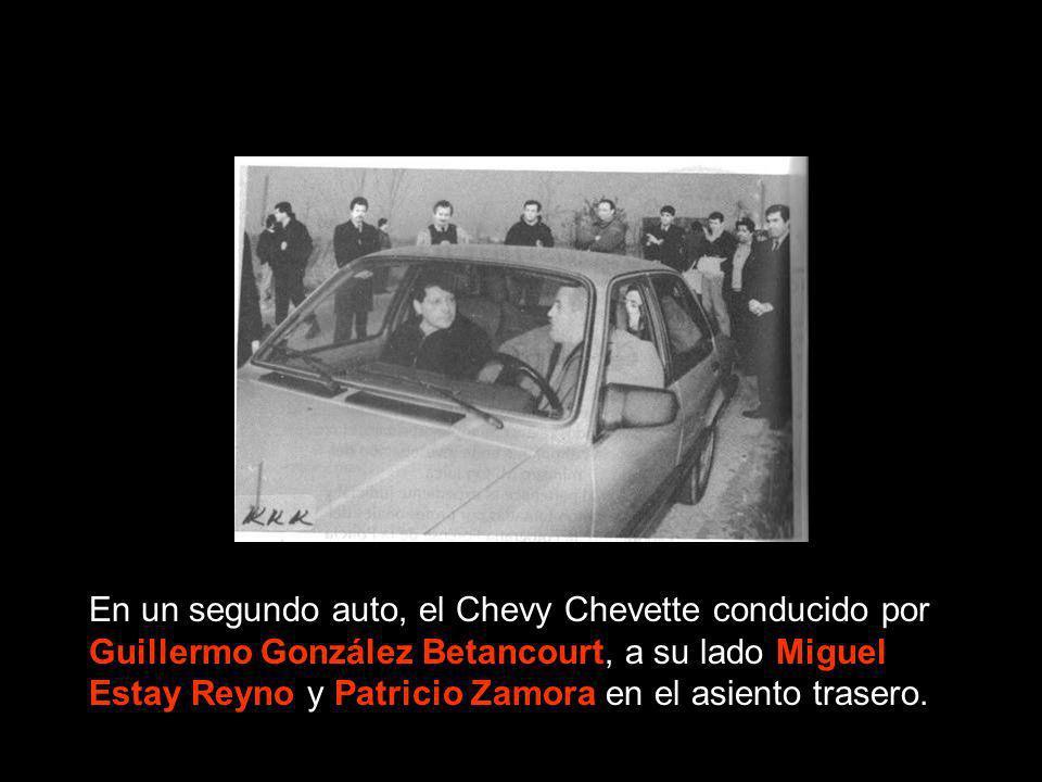En un segundo auto, el Chevy Chevette conducido por Guillermo González Betancourt, a su lado Miguel Estay Reyno y Patricio Zamora en el asiento traser