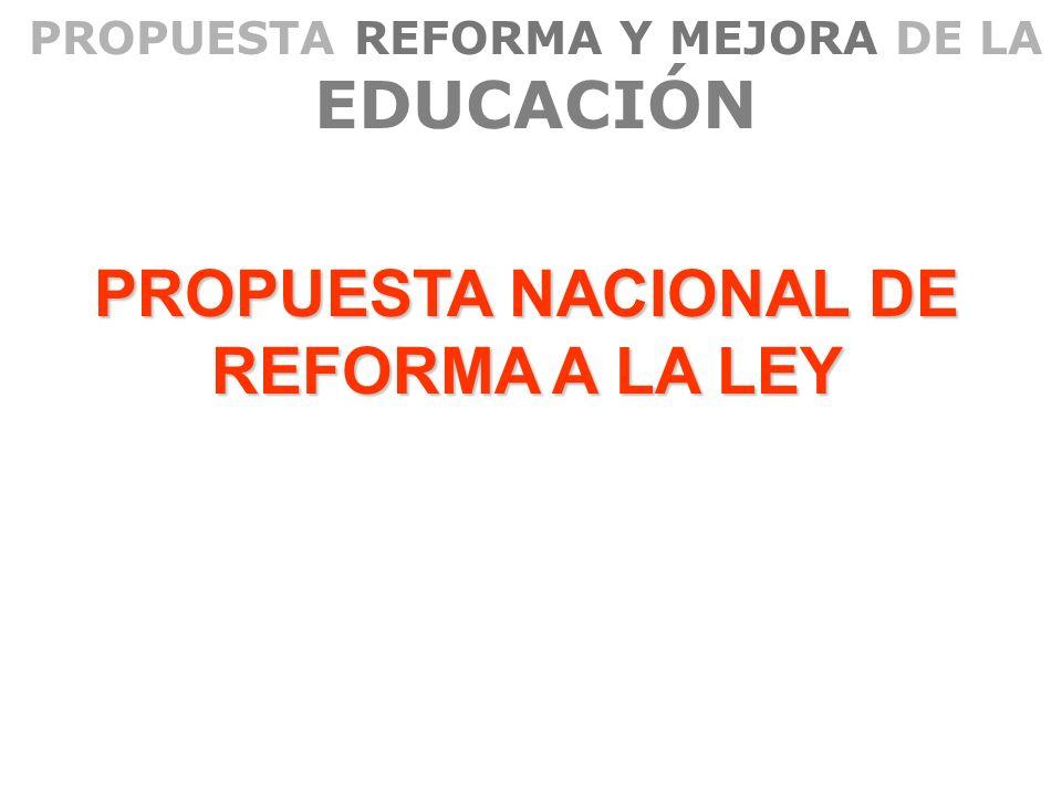 PROPUESTA REFORMA Y MEJORA DE LA EDUCACIÓN PROPUESTA NACIONAL DE REFORMA A LA LEY