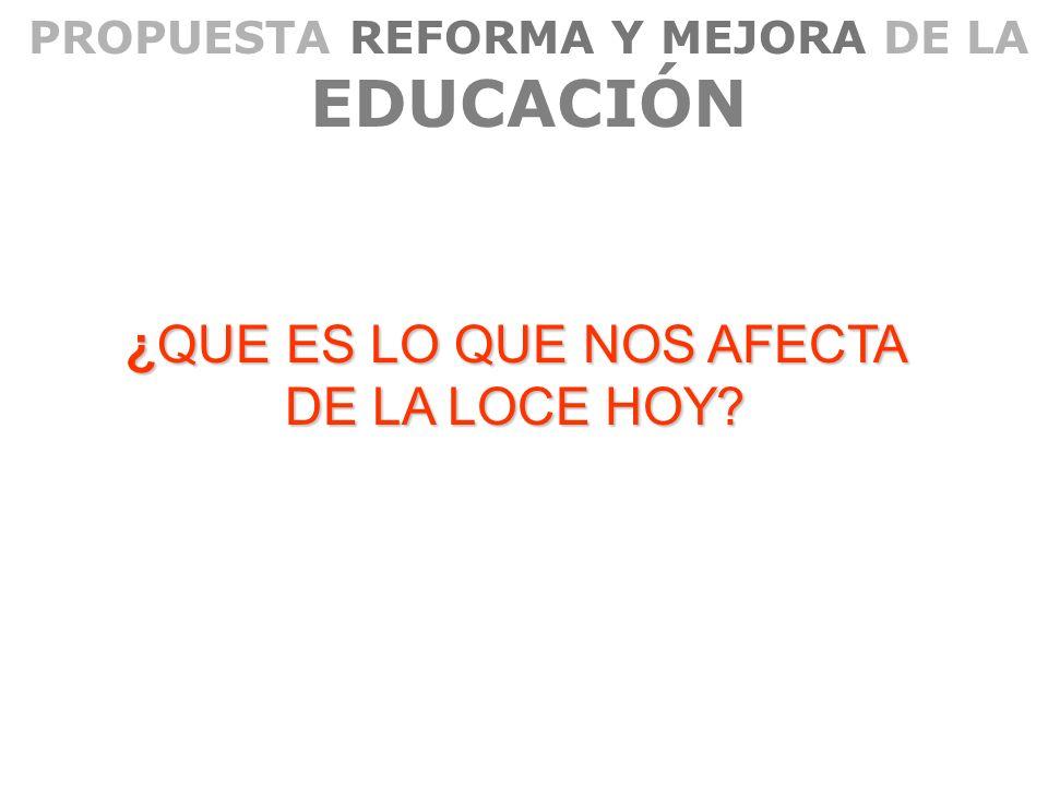 PROPUESTA REFORMA Y MEJORA DE LA EDUCACIÓN ¿QUE ES LO QUE NOS AFECTA DE LA LOCE HOY?