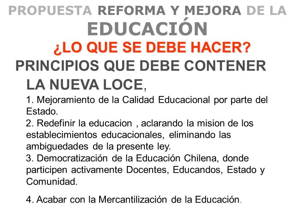 PROPUESTA REFORMA Y MEJORA DE LA EDUCACIÓN ¿LO QUE SE DEBE HACER? PRINCIPIOS QUE DEBE CONTENER LA NUEVA LOCE, 1. Mejoramiento de la Calidad Educaciona