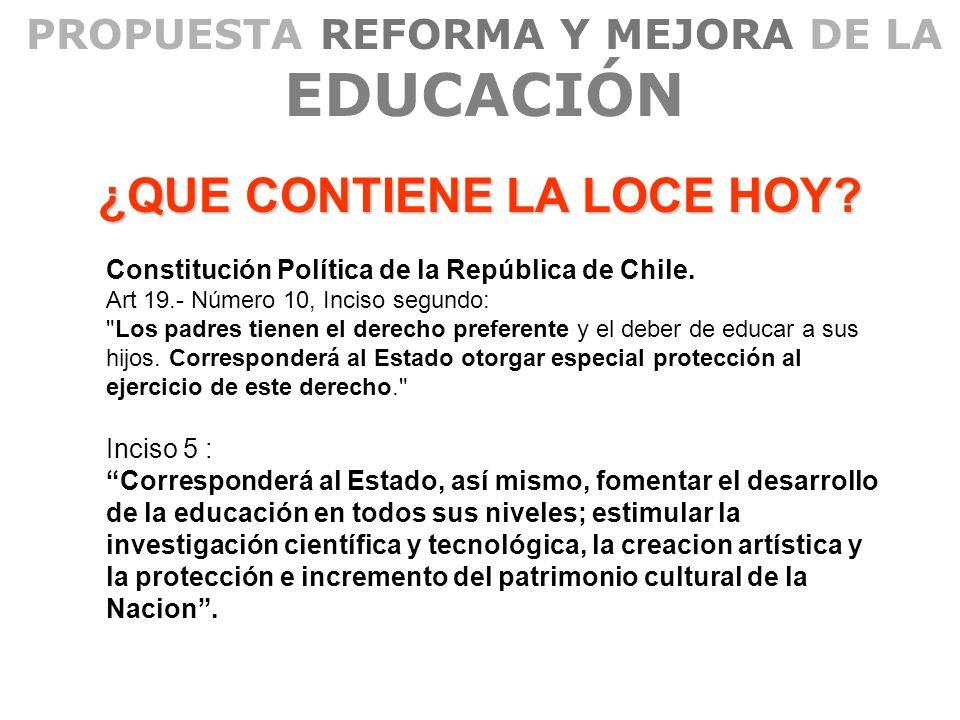 PROPUESTA REFORMA Y MEJORA DE LA EDUCACIÓN ¿QUE CONTIENE LA LOCE HOY? Constitución Política de la República de Chile. Art 19.- Número 10, Inciso segun