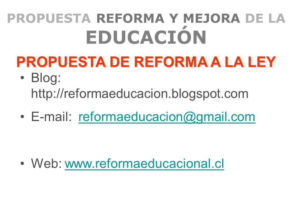 PROPUESTA REFORMA Y MEJORA DE LA EDUCACIÓN Blog: http://reformaeducacion.blogspot.com E-mail: reformaeducacion@gmail.comreformaeducacion@gmail.com Web