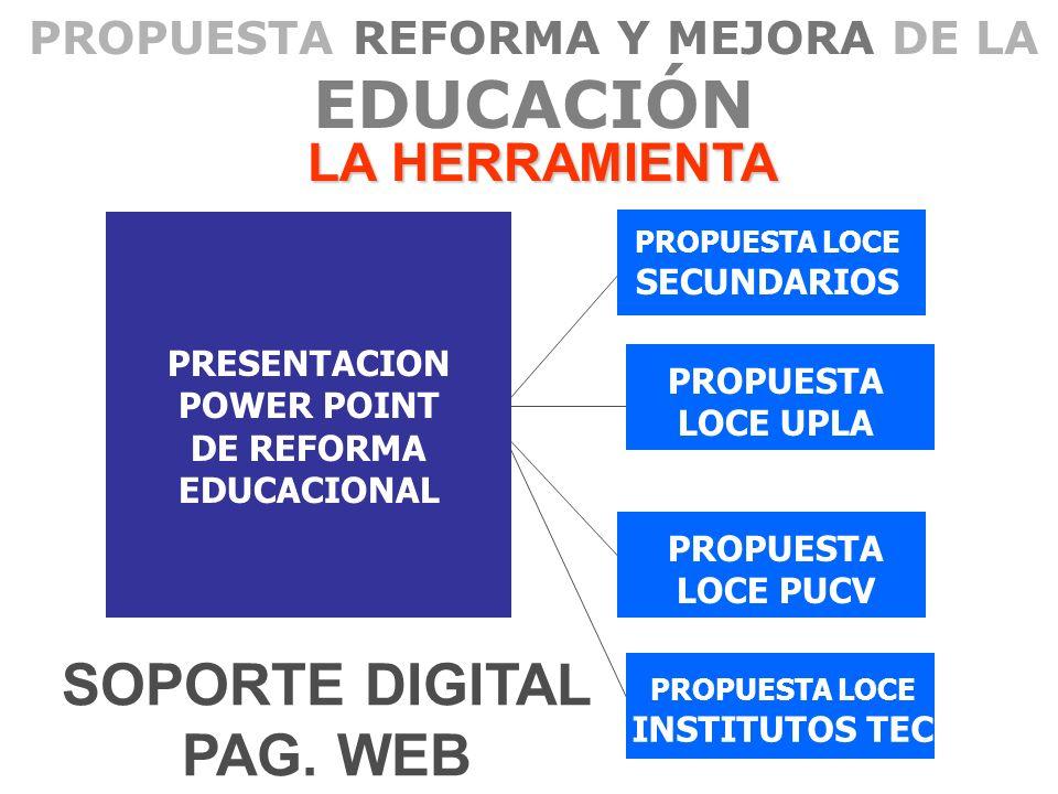 PROPUESTA REFORMA Y MEJORA DE LA EDUCACIÓN LA HERRAMIENTA PRESENTACION POWER POINT DE REFORMA EDUCACIONAL PROPUESTA LOCE PUCV PROPUESTA LOCE UPLA PROP
