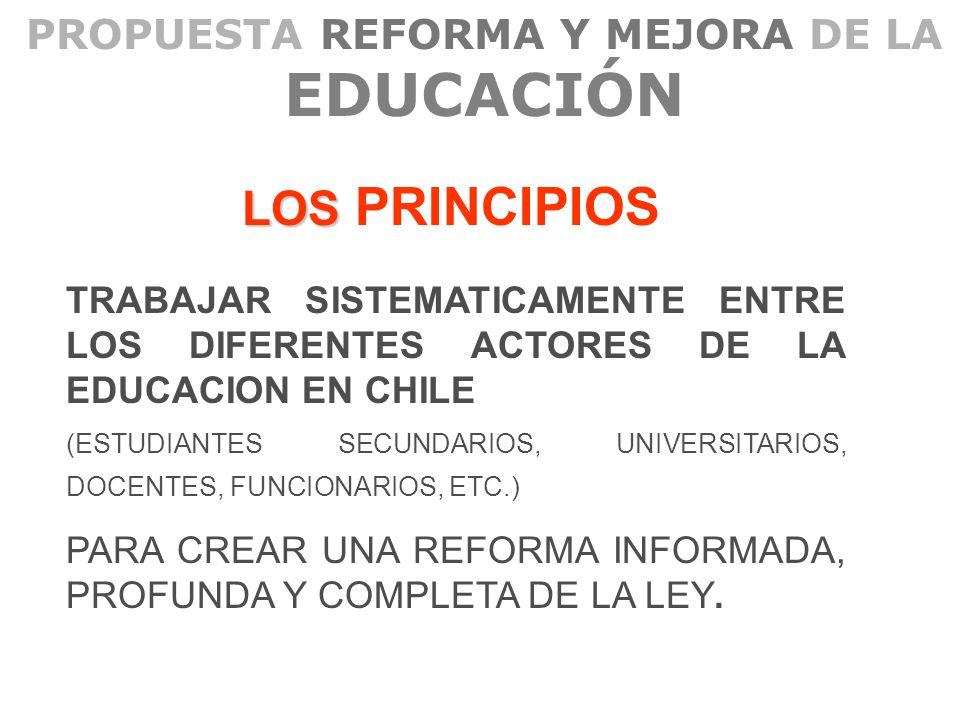 PROPUESTA REFORMA Y MEJORA DE LA EDUCACIÓN LOS LOS PRINCIPIOS TRABAJAR SISTEMATICAMENTE ENTRE LOS DIFERENTES ACTORES DE LA EDUCACION EN CHILE (ESTUDIA