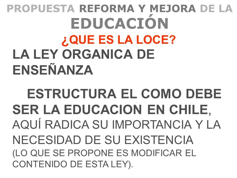 PROPUESTA REFORMA Y MEJORA DE LA EDUCACIÓN ¿ QUE ES LA LOCE? LA LEY ORGANICA DE ENSEÑANZA ESTRUCTURA EL COMO DEBE SER LA EDUCACION EN CHILE, AQUÍ RADI