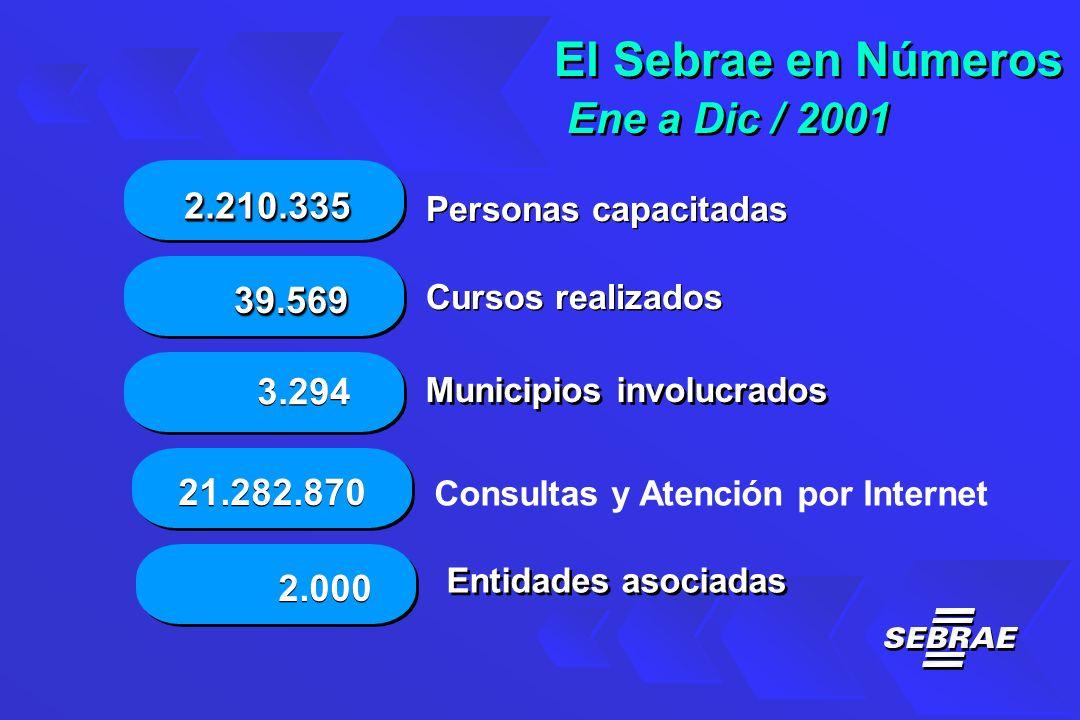 Personas capacitadas Cursos realizados Municipios involucrados Entidades asociadas El Sebrae en Números Ene a Dic / 2001 El Sebrae en Números Ene a Dic / 2001 3.294 39.56939.569 21.282.870 2.000 2.210.3352.210.335 Consultas y Atención por Internet