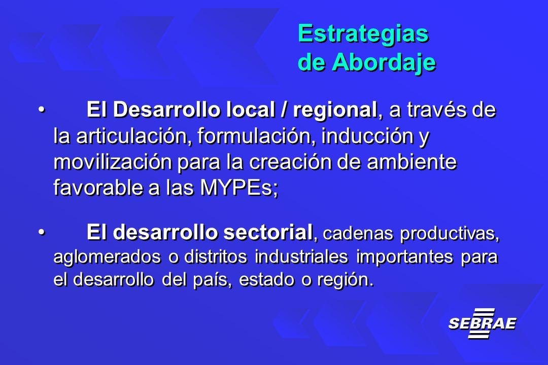 Estrategias de Abordaje Estrategias de Abordaje El Desarrollo local / regional, a través de la articulación, formulación, inducción y movilización para la creación de ambiente favorable a las MYPEs; El desarrollo sectorial, cadenas productivas, aglomerados o distritos industriales importantes para el desarrollo del país, estado o región.
