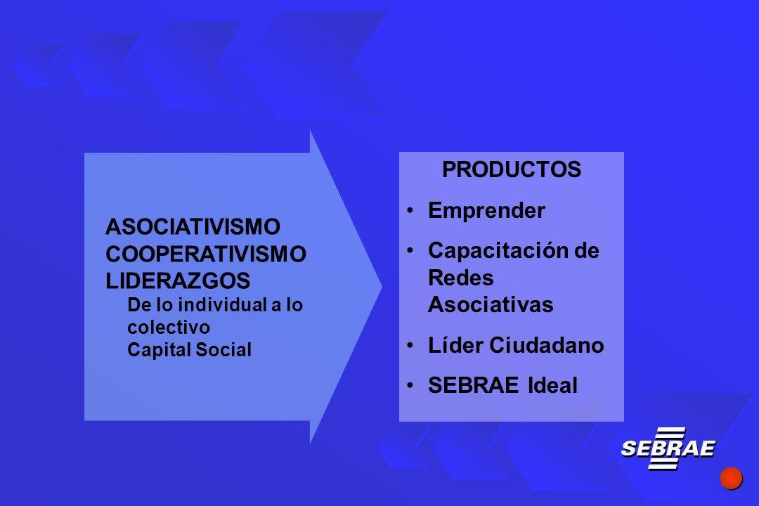 PRODUCTOS Emprender Capacitación de Redes Asociativas Líder Ciudadano SEBRAE Ideal ASOCIATIVISMO COOPERATIVISMO LIDERAZGOS De lo individual a lo colectivo Capital Social