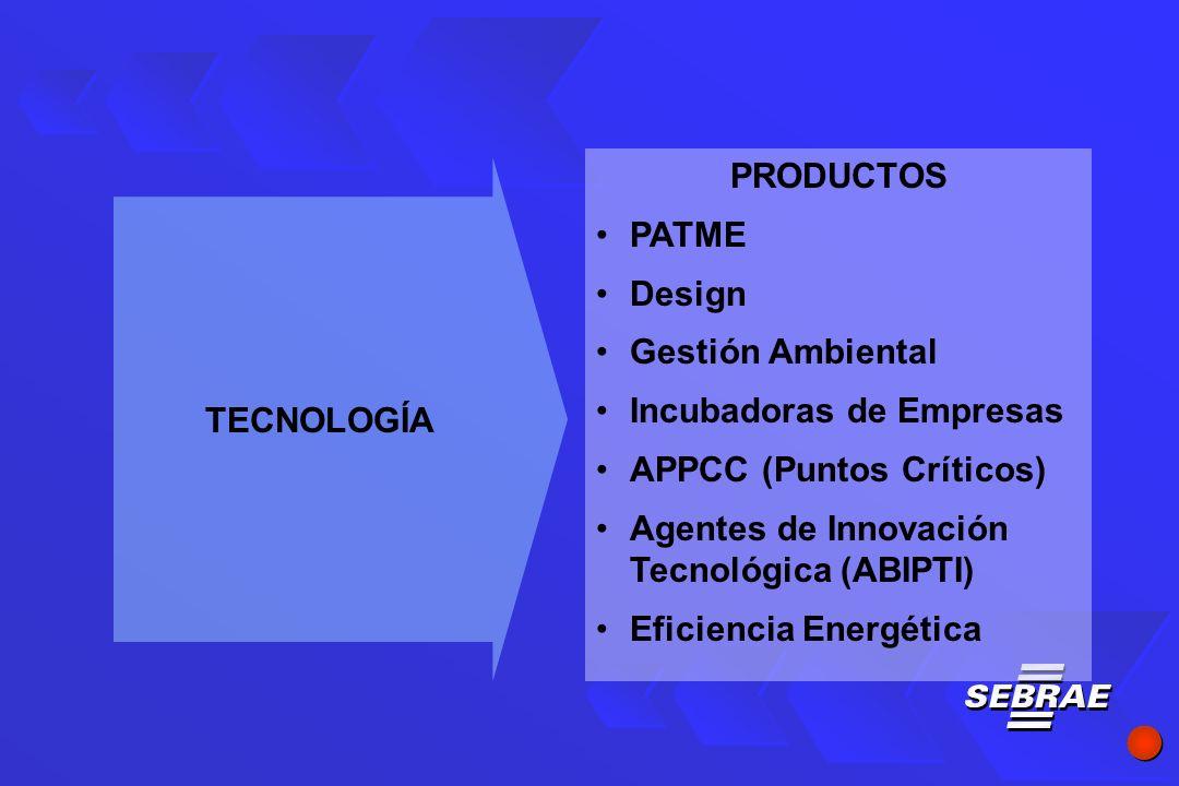 PRODUCTOS PATME Design Gestión Ambiental Incubadoras de Empresas APPCC (Puntos Críticos) Agentes de Innovación Tecnológica (ABIPTI) Eficiencia Energética TECNOLOGÍA