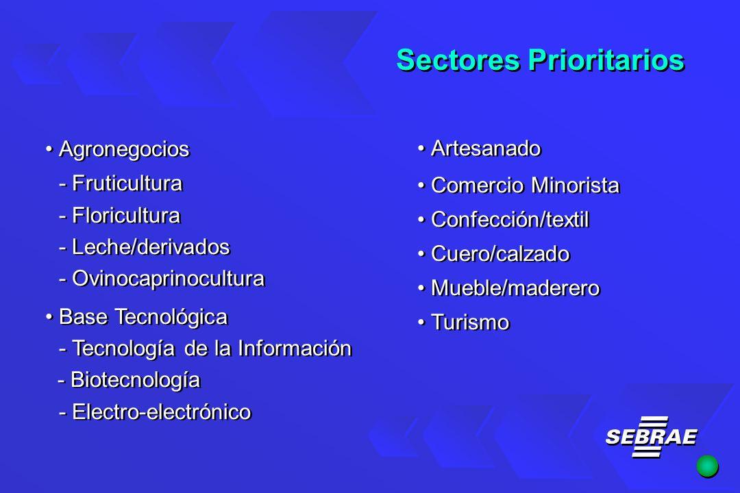 Sectores Prioritarios Agronegocios - Fruticultura - Floricultura - Leche/derivados - Ovinocaprinocultura Base Tecnológica - Tecnología de la Información - Biotecnología - Electro-electrónico Agronegocios - Fruticultura - Floricultura - Leche/derivados - Ovinocaprinocultura Base Tecnológica - Tecnología de la Información - Biotecnología - Electro-electrónico Artesanado Comercio Minorista Confección/textil Cuero/calzado Mueble/maderero Turismo Artesanado Comercio Minorista Confección/textil Cuero/calzado Mueble/maderero Turismo