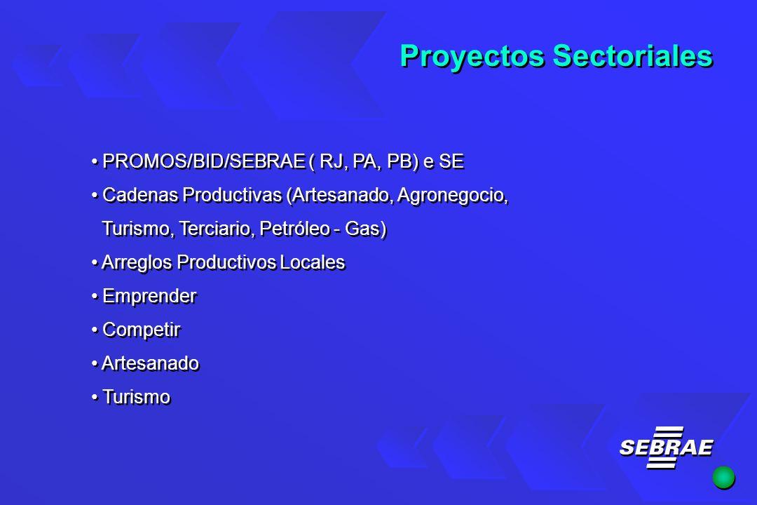 Proyectos Sectoriales PROMOS/BID/SEBRAE ( RJ, PA, PB) e SE Cadenas Productivas (Artesanado, Agronegocio, Turismo, Terciario, Petróleo - Gas) Arreglos Productivos Locales Emprender Competir Artesanado Turismo PROMOS/BID/SEBRAE ( RJ, PA, PB) e SE Cadenas Productivas (Artesanado, Agronegocio, Turismo, Terciario, Petróleo - Gas) Arreglos Productivos Locales Emprender Competir Artesanado Turismo
