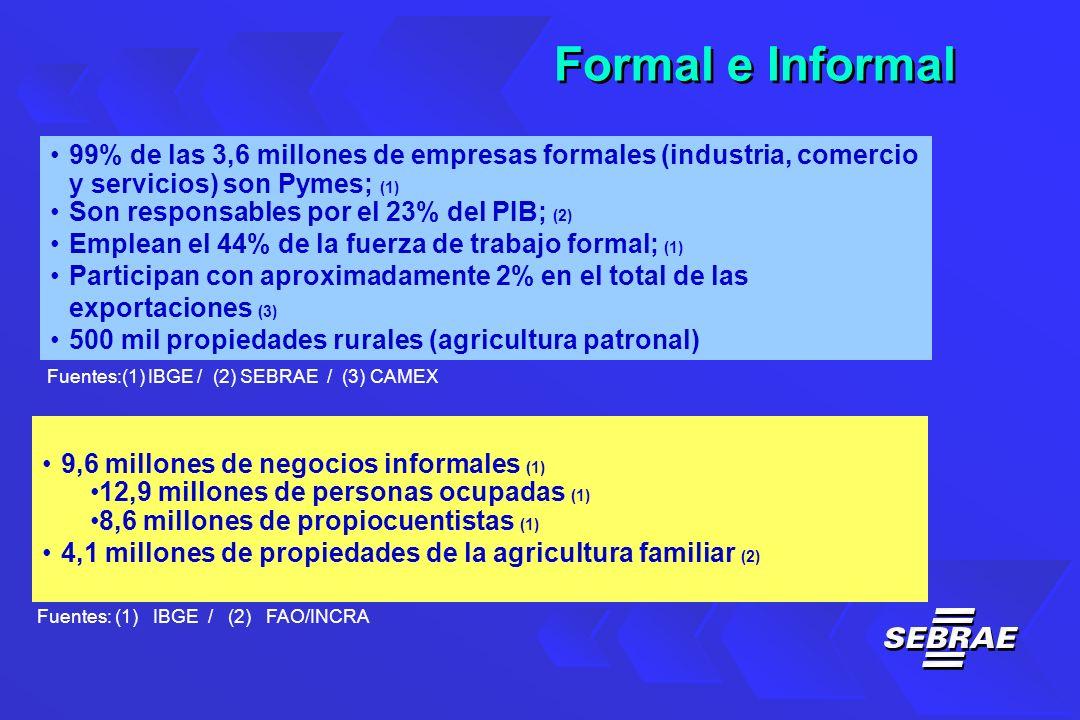 99% de las 3,6 millones de empresas formales (industria, comercio y servicios) son Pymes; (1) Son responsables por el 23% del PIB; (2) Emplean el 44% de la fuerza de trabajo formal; (1) Participan con aproximadamente 2% en el total de las exportaciones (3) 500 mil propiedades rurales (agricultura patronal) Fuentes:(1) IBGE / (2) SEBRAE / (3) CAMEX 9,6 millones de negocios informales (1) 12,9 millones de personas ocupadas (1) 8,6 millones de propiocuentistas (1) 4,1 millones de propiedades de la agricultura familiar (2) Fuentes: (1) IBGE / (2) FAO/INCRA Formal e Informal