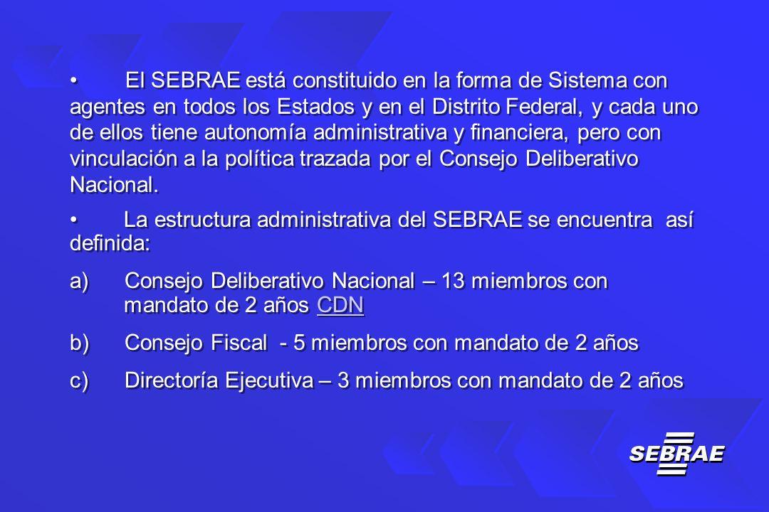 El SEBRAE está constituido en la forma de Sistema con agentes en todos los Estados y en el Distrito Federal, y cada uno de ellos tiene autonomía administrativa y financiera, pero con vinculación a la política trazada por el Consejo Deliberativo Nacional.