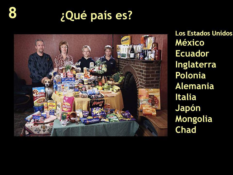 ¿Qué país es? Los Estados Unidos México Ecuador Inglaterra Polonia Alemania Italia Japón Mongolia Chad 8