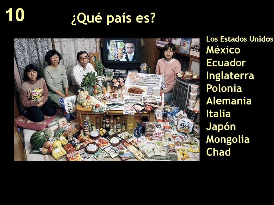 ¿Qué país es? Los Estados Unidos México Ecuador Inglaterra Polonia Alemania Italia Japón Mongolia Chad 10