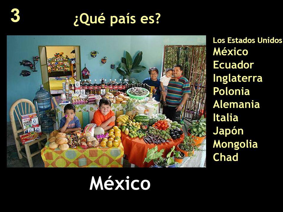 ¿Qué país es? Los Estados Unidos México Ecuador Inglaterra Polonia Alemania Italia Japón Mongolia Chad México 3