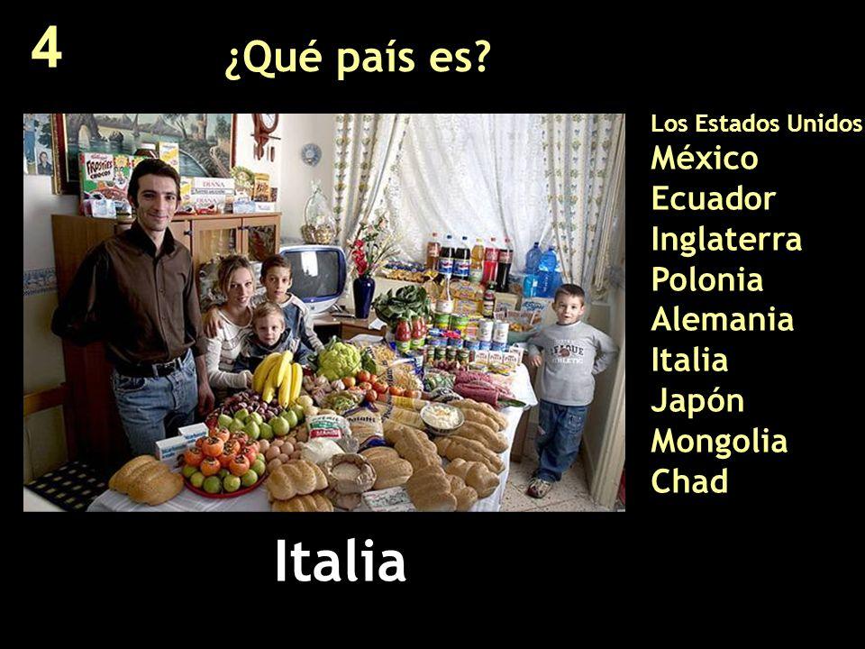 ¿Qué país es? Los Estados Unidos México Ecuador Inglaterra Polonia Alemania Italia Japón Mongolia Chad Italia 4