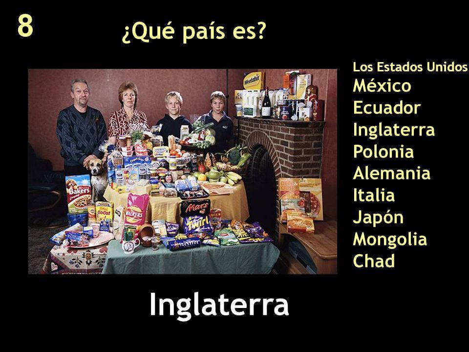 ¿Qué país es? Los Estados Unidos México Ecuador Inglaterra Polonia Alemania Italia Japón Mongolia Chad Inglaterra 8