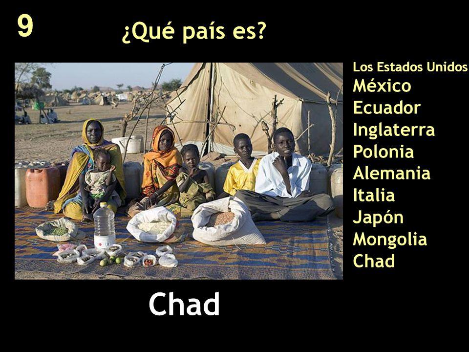 ¿Qué país es? Los Estados Unidos México Ecuador Inglaterra Polonia Alemania Italia Japón Mongolia Chad Chad 9