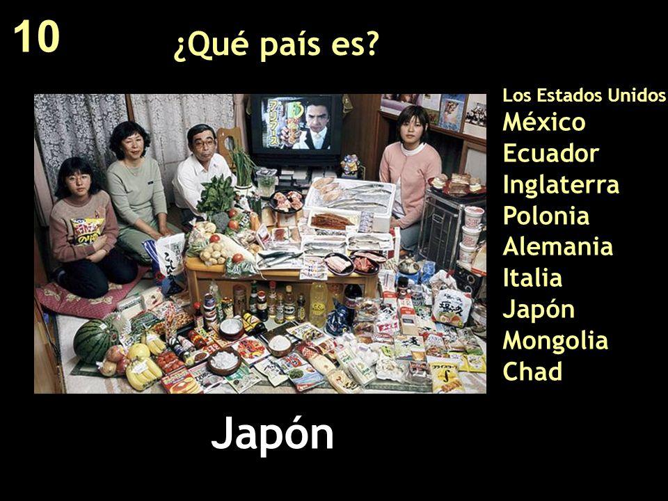 ¿Qué país es? Los Estados Unidos México Ecuador Inglaterra Polonia Alemania Italia Japón Mongolia Chad Japón 10