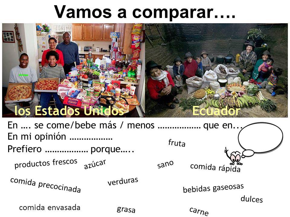 Vamos a comparar…. los Estados UnidosEcuador En …. se come/bebe más / menos ……………… que en... En mi opinión ……………… productos frescos fruta carne grasa