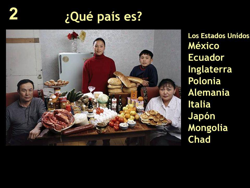 ¿Qué país es? Los Estados Unidos México Ecuador Inglaterra Polonia Alemania Italia Japón Mongolia Chad 2
