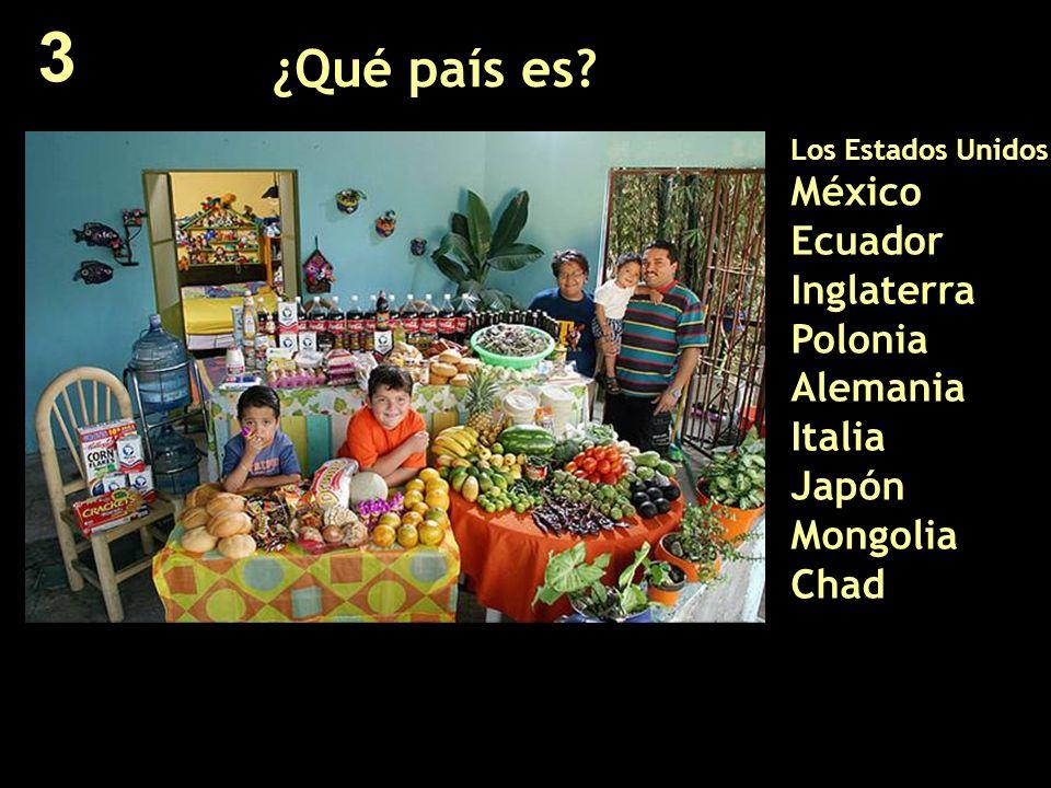 ¿Qué país es? Los Estados Unidos México Ecuador Inglaterra Polonia Alemania Italia Japón Mongolia Chad 3