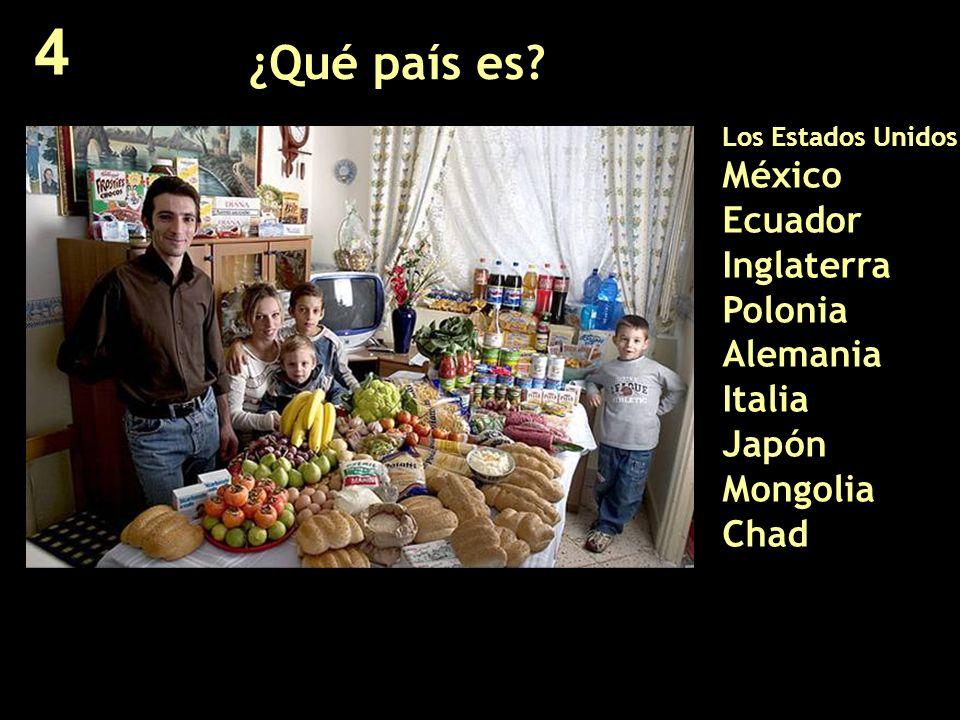 ¿Qué país es? Los Estados Unidos México Ecuador Inglaterra Polonia Alemania Italia Japón Mongolia Chad 4