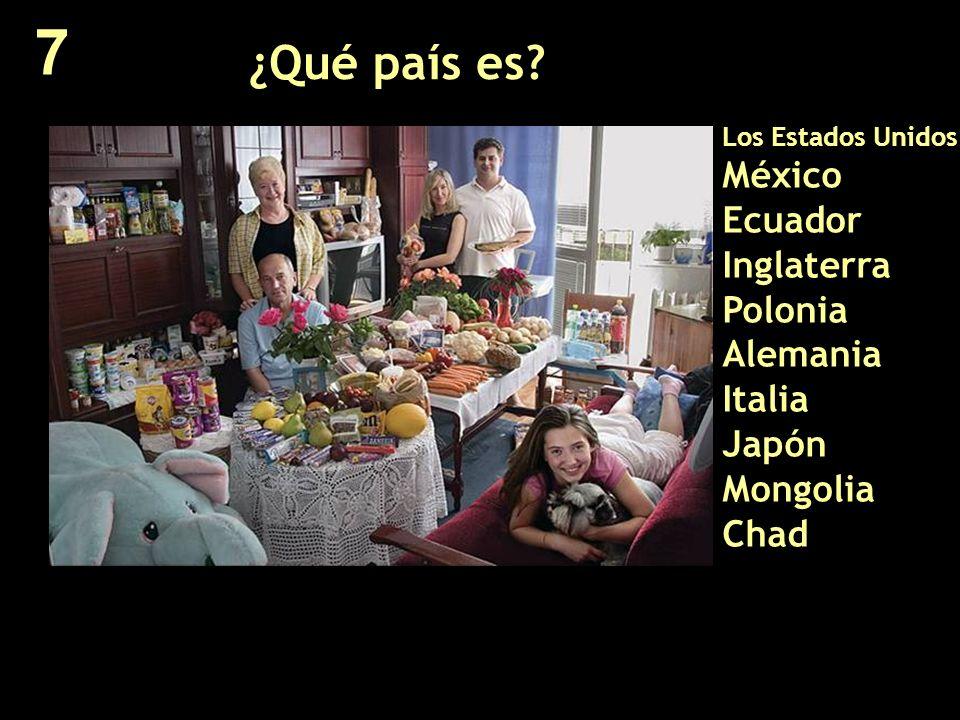 ¿Qué país es? Los Estados Unidos México Ecuador Inglaterra Polonia Alemania Italia Japón Mongolia Chad 7