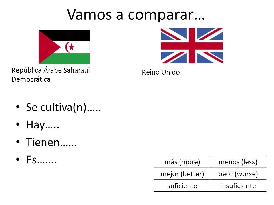 Vamos a comparar… Se cultiva(n)….. Hay….. Tienen…… Es……. República Árabe Saharaui Democrática Reino Unido más (more)menos (less) mejor (better)peor (w