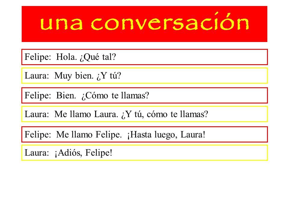 una conversación Felipe: Hola. ¿Qué tal? Laura: Muy bien. ¿Y tú? Felipe: Bien. ¿Cómo te llamas? Laura: Me llamo Laura. ¿Y tú, cómo te llamas? Felipe: