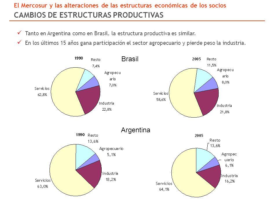 Brasil Argentina Tanto en Argentina como en Brasil, la estructura productiva es similar.