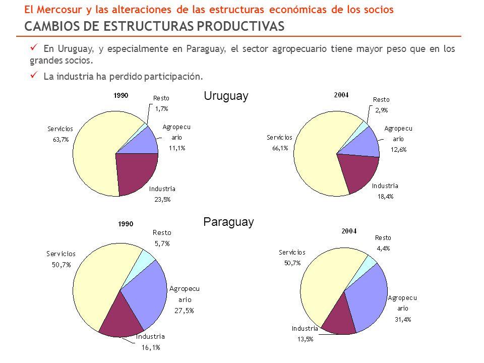 Uruguay Paraguay En Uruguay, y especialmente en Paraguay, el sector agropecuario tiene mayor peso que en los grandes socios.