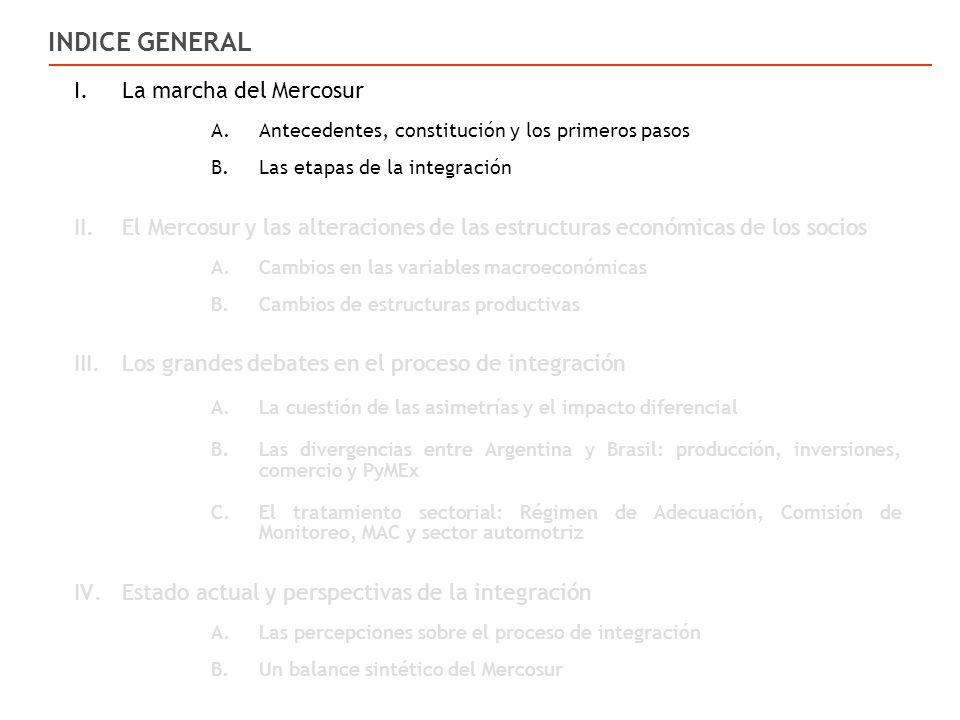 I.La marcha del Mercosur A.Antecedentes, constitución y los primeros pasos B.Las etapas de la integración II.El Mercosur y las alteraciones de las estructuras económicas de los socios A.Cambios en las variables macroeconómicas B.Cambios de estructuras productivas III.Los grandes debates en el proceso de integración A.La cuestión de las asimetrías y el impacto diferencial B.Las divergencias entre Argentina y Brasil: producción, inversiones, comercio y PyMEx C.El tratamiento sectorial: Régimen de Adecuación, Comisión de Monitoreo, MAC y sector automotriz IV.Estado actual y perspectivas de la integración A.Las percepciones sobre el proceso de integración B.Un balance sintético del Mercosur INDICE GENERAL
