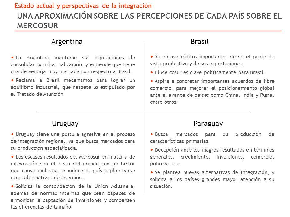 UNA APROXIMACIÓN SOBRE LAS PERCEPCIONES DE CADA PAÍS SOBRE EL MERCOSUR La Argentina mantiene sus aspiraciones de consolidar su industrialización, y entiende que tiene una desventaja muy marcada con respecto a Brasil.